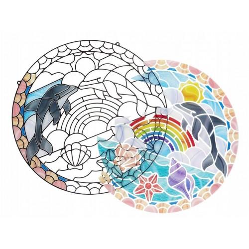 Witraż Mozaika DIY Delfiny...